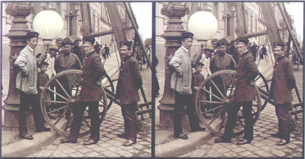 August Fuhrmann Installation einer Gaslaterne, ca. 1890
